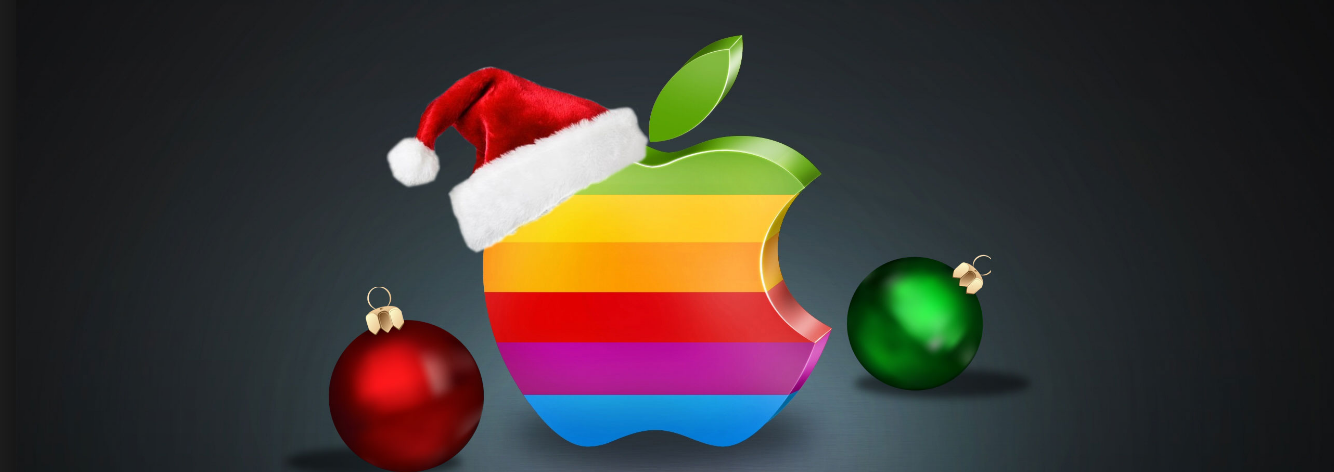 Apple Logo with Christmas Hat